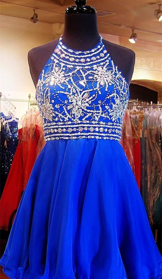 Royal Blue Sparkle Beautiful Chiffon Fashion Beading Sweet 16 Dress JSR67
