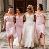Mermaid Pink Off the Shoulder Sweetheart Prom Dresses Long Bridesmaid Dresses JS915
