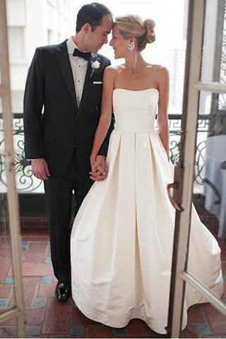 A-Line Sweetheart Strapless Backless Floor-Length Ivory Satin Wedding Dresses with Ruched SME276