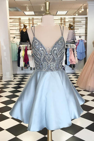 Straps Short Silver Beads Backless V-Neck A-Line Tulle Homecoming Dresses JS167