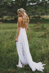 Simple Boho Spaghetti Straps Sweetheart Backless Chiffon Beach Wedding Dresses JS227