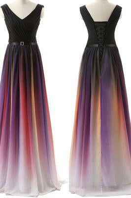 Gradient purple A-line long prom Dress formal prom dress new arrive evening dress UK 2018 BD2806