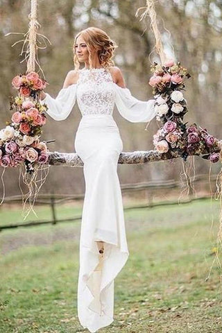 Affordable Unique Design Lace Top Long Sleeves Mermaid Long Wedding Dress JS261