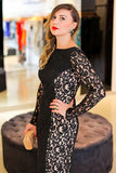 Sexy Black Mermaid Lace Long Sleeve High Neck Floor-Length Backless Plus Size Prom Dresses JS222