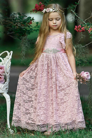 Chic Lace Cap Sleeves Flower Girl Dresses With bowket