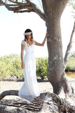 Beach A-Line Cap Sleeves Backless Lace Summer Scoop Open Back Ivory Wedding Dress SME700