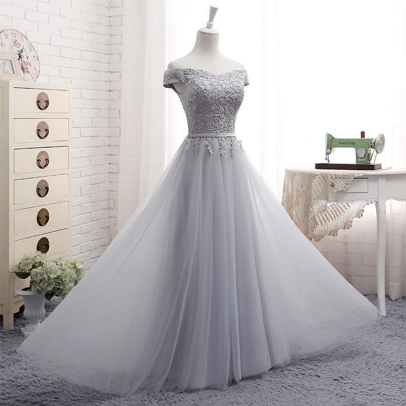 A-Line Gray Lace Off the Shoulder Tulle Lace-up Sweetheart Prom Dresses JS157