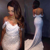 White Mermaid Off The Shoulder Long Ivory Sequins with Sparkle Formal Party Dresses For Teens SME13