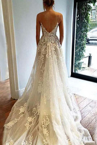 A Line Spaghetti Straps Deep V Neck Ivory with Pockets Tulle Open Back Wedding Dresses SM110