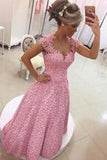 Gorgeous A-line Sweetheart Short Sleeve Backless Sweetheart Cheap Lace Prom Dresses uk PD0084