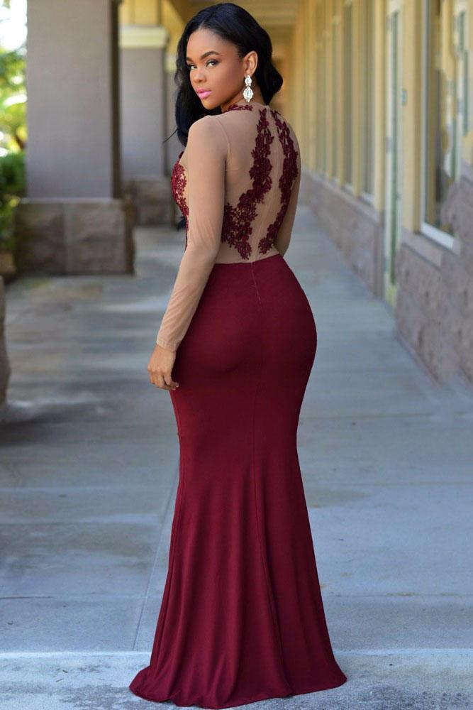 Jersey Scoop Neck Sexy Burgundy Mermaid Long Sleeves Zipper Appliques Prom Dresses JS480