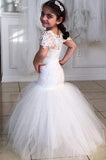 Long Short Sleeves Mermaid Lace Appliques Tulle Flower Girl Dress Wedding Party Dress JS119