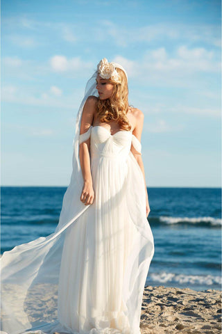 Off-the-Shoulder Empire Pleated White Sweetheart Backless Chiffon Beach Wedding Dress SME576