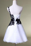 A Line One Shoulder White Homecoming Dress with Black Lace Knee Length Party Dress JS44