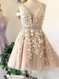 Short V Neck Beaded Ivory Tulle Prom Dresses Homecoming Dresses Lace Embroidery JS754