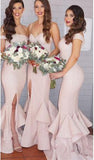 2019 Sexy Mermaid Ruffles Front Split Off-the-shoulder Sleeveless Bridesmaid Dress JS329