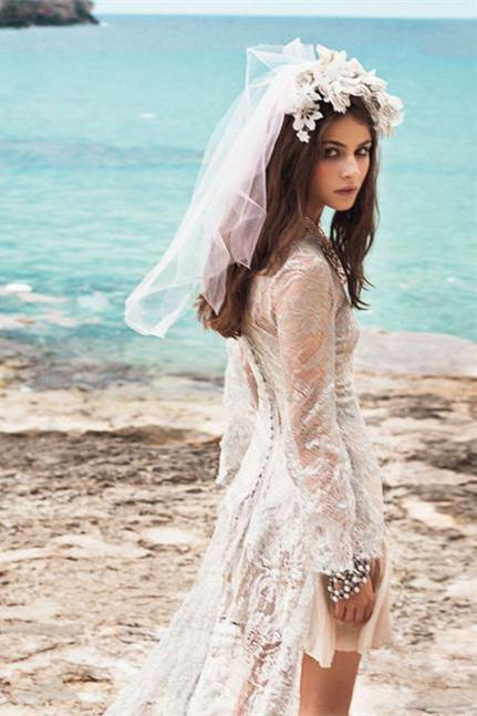 Spanish Summer Long Sleeve A-Line Lace Boho Beach Appliques Wedding Dresses JS270