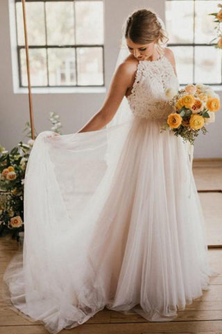 A-Line Round Neck Ivory Sweep Train Tulle Halter Wedding Dress with Lace UK JS786