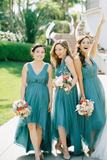 Bohemian Romantic A Line Tulle High Low Bridesmaid Dresses