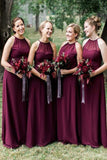 A Line Chiffon Halter Cheap Floor Length Bridesmaid Dresses