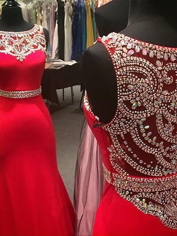 New Style Sparkle Red Beaded Bodice Long Lace Satin Mermaid Sexy Prom Dresses JS156
