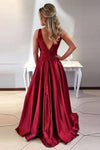 Simple A-Line Round Neck V-Back Maroon Satin Sleeveless Prom Dresses with Lace JS394