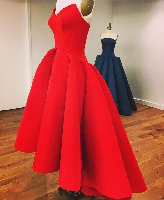 New Fashion High Low Red Vintage Strapless Sleeveless Formal Gowns online prom dresses JS138