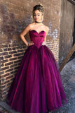 Stylish Sweetheart Strapless Purple Tulle Long A-Line Plus Size Prom Dresses JS728