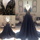 New Arrival Deep V-Neck Lace Chiffon Elegant A-line Black Long Open Back Prom Dresses JS822