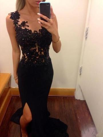 Pretty Mermaid Black Lace Beading Sweetheart With Slit Modest Cheap Prom Dresses JS144