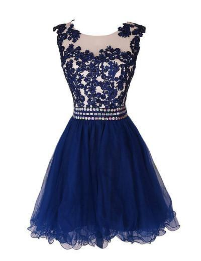 Navy Blue Lace Short Prom Dress With Waist Beads Royal Blue Mini Length Homecoming Dress JS891