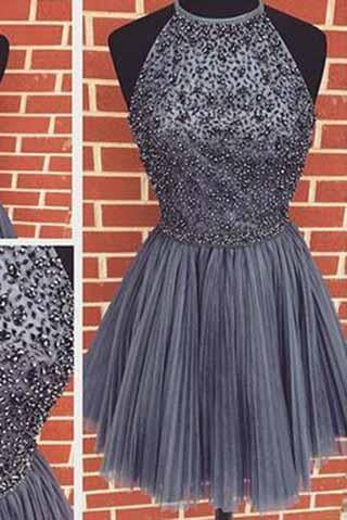 Sexy Backless Junior Short Open Back Halter Beads Tulle Gray Prom Dress Homecoming Dress JS956