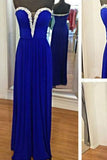 Royal Blue Royal Blue Silver Beaded Beads Sweetheart Chiffon Formal Gown For Senior Teens JS676