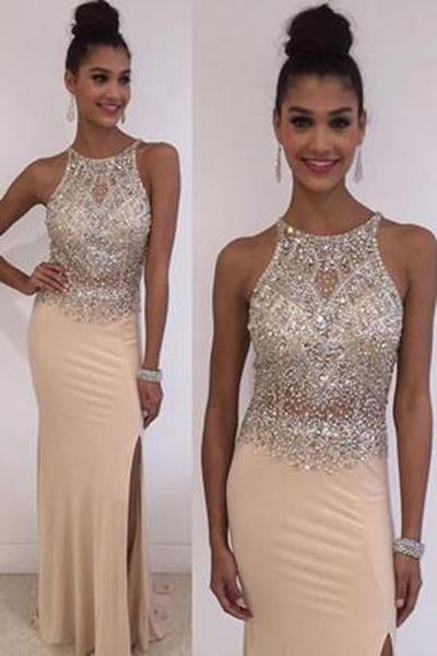 Champagne Halter Mermaid Elegant Beads Jewelry Hot Slit Prom Dresses JS164