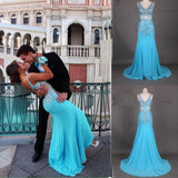 New Top Mermaid Straps Sleeveless Diamond Blue Long Prom Gown Party Dresses JS989