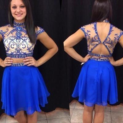 Royal Blue Short Prom Dresses Chiffon Fitted Party Dress Silver Beading Sparkly Cocktail Dress JS911