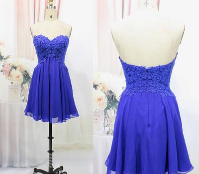 Tulle Lace Homecoming Dress Royal Blue Fitted Homecoming Dress Short Prom Dress JS904