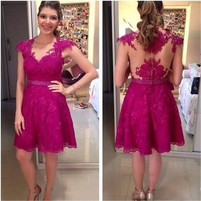 Homecoming Dresses Lace Homecoming Dress Fitted Homecoming Dress Short Prom Dress JS901