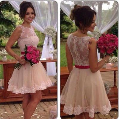 Lace Tulle Cute Fashion Scoop A-Line Sleeveless Homecoming Dress Short Prom Dress JS879