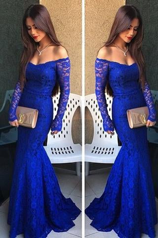 Royal Blue Lace Long Sleeves Sexy Prom Dresses for Teens SME389