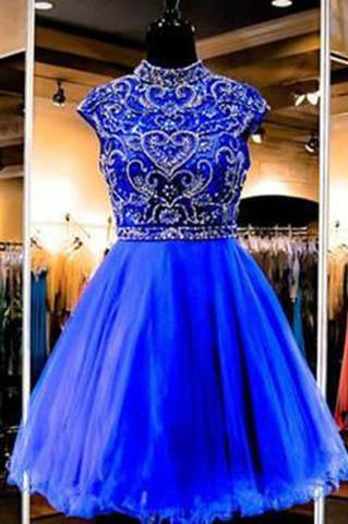 Royal Blue Homecoming Dress Short Tulle Fitted Party Dress Beading Prom Dresses JS896
