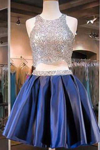 Navy Blue Two Piece Beading Short Prom Gown Sweet 16 Dress Bling Homecoming Dress JS877