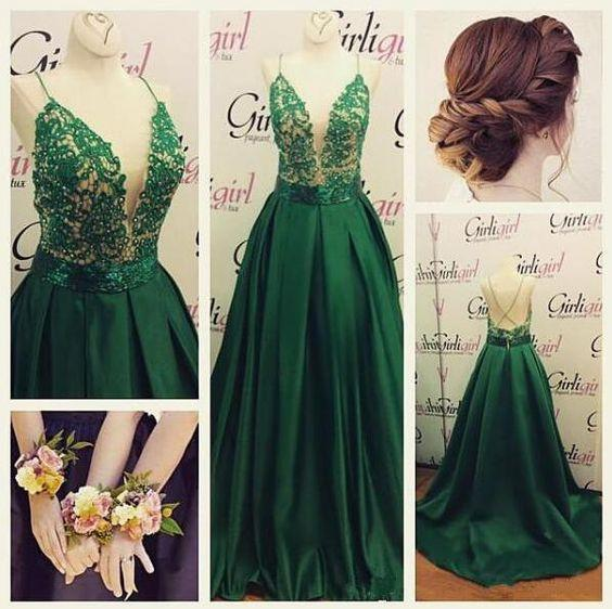 High Quality V-Neck Spaghetti Strap Backless Sexy Green Long Sparkle Prom Dresses JS148