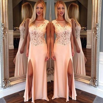 New Arrival Side Split Mermaid Scoop Sexy Sheer Long Party Gowns Women Pageant Dresses JS166