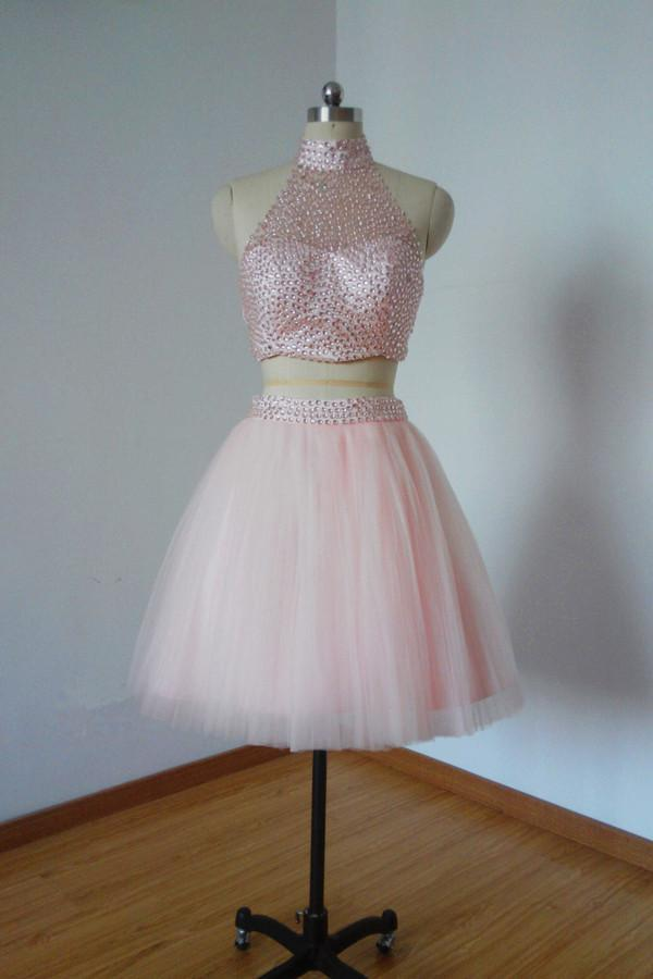 Two Pieces Pretty Sexy Charming Beading Halter Tulle Blush Pink Homecoming Dresses S97