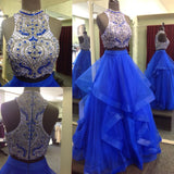 Royal Blue Two Piece Beaded Bodice Tulle Skirt Ball Gown Halter Sleeveless Prom Dresses JS224