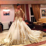 Gold Lace Long Sleeves V-Neck Beading Chapel Train Ball Gown Wedding Dresses F292