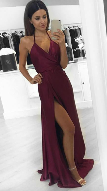 New Fashion Modest Sexy A-Line Burgundy Slit Halter Backless V-Neck Prom Dresses JS761