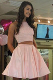 Two Pieces Beaded Fashion Sexy Short Satin Cute New Style Homecoming Dress JS441