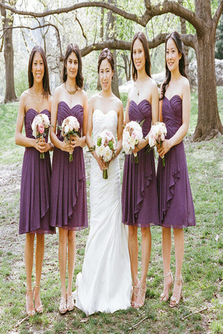 Simple Chiffon Sweetheart Purple Short Pleats Bridesmaid Dresses